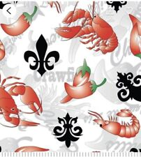 Fabric Louisiana Crawfish Fleur De Lis  1/4 Yard