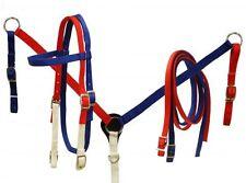 USA Red White Blue Parade Nylon Bridle Headstall Breast Collar Barrel Trail Set