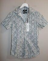 KENJI Brand Men's White Jogger Printed Short Sleeve Shirt Size XS BNWT #SU23