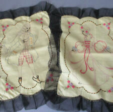 Pr Antique Linen Hand Embroidered Doilies French Lady + Gent * Black Lace Trim