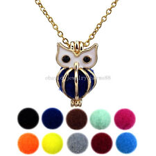 KG170 Light Gold Enamel Animal Owl Perfume Locket Necklace Bead Cage Steel Chain