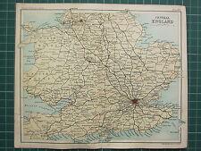 1904 SMALL MAP ~ CENTRAL ENGLAND RAILWAY LONDON BIRMIGHAM BRISTOL MANCHESTER