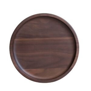 Natural Wooden Serving Tea Tray Black Walnut Dinner Plate Round Fruit Dish 23in