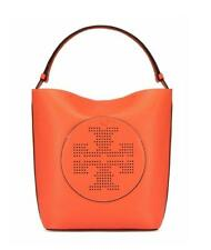NWT Tory Burch Spiced Orange Camello Perforated Logo Leather Hobo Tote Purse Bag