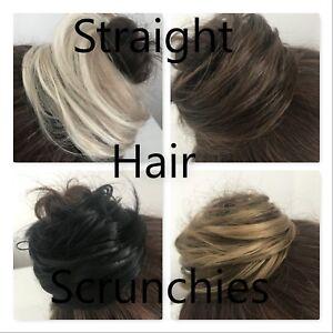 UK SELLER Straight, Messy Hair Bun Scrunchie, Elastic Wrap Around Cover Updo