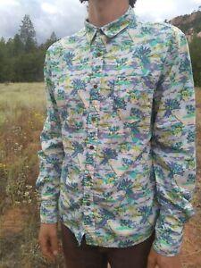 CACTUS New York On The Road Mens Oxford Shirt Sz L Tropical Hawaiian Neon, Slim