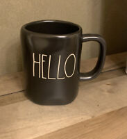 Rae Dunn - HELLO LL - Black Ceramic Coffee Mug