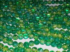 8MM Light & Dark Green Mix Crackle Glass Round Spacer Loose Beads About 100pc.