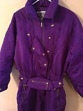 Fera Skiwear Womens Snow Ski Suit Vintage Purple Zip Snap Zipped Pockets Sz 12