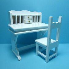 Dollhouse Miniature White Desk and Chair Set ~ Very Cute T5351
