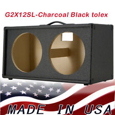 2x12 Guitar Speaker Empty Cabinet Charcoal Black Tolex slanted front shape