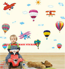 Colourful Hot Air Balloon & Planes Wall Stickers Removable Vinyl Decal Kids Room