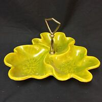 VTG California Originals Art Pottery 305 3-Section Divided Dish Green Leaf Caddy