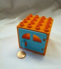 Lego DUPLO ORANGE & BLUE DOOR WINDOW PANE DOOR Building Block Frame 4 x 4