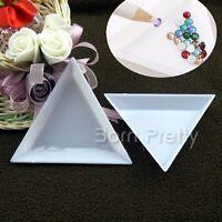 2Stk Dreieckig Kunststoff Klar Leere Behälter Aufbewahrungsbox Maniküre Tool