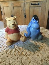 """Pre Owned Disney Winnie The Pooh And Eeyore Salt And Pepper Set. 3.5"""" Tall."""