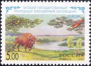 Russia 1999 Europa/National Parks/Bison/Squirrel/Trees/Forest/Nature 1v (n46163)