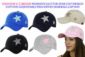 C.C Women's Glitter Star Cut Design Cotton Adjustable Precurved Baseball Cap Hat