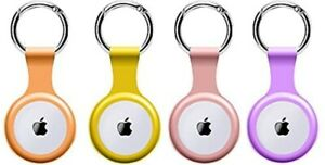 4 Pack Cases for Apple AirTags Case Airtag Holder with Key Ring Keychain Silicon