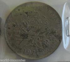 5 francs semeuse 1971 : B : pièce de monnaie française