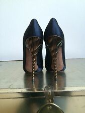 Nina Ricci Heels Pumps Black Satin Shoes Twist Spiral Heel NEW NEVER WORN 36.5 6