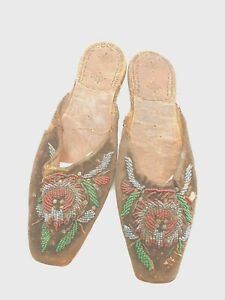 ANTIQUE VICTORIAN BEADWORK SLIPPERS MULES FOOTWEAR C1900