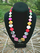 Festive Summer Shell Bead Necklace Colorful Graduated Flat Beads Adjustable