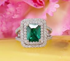 2Ct Emerald Cut Green Emerald Double Halo Engagement Ring 14K White Gold Finish