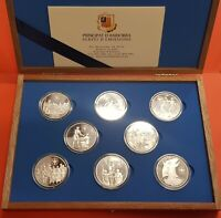 8 monedas x ANDORRA 10 Diners 1999 JUBILAEUM Jubileo 2000 PLATA COIN MINT SET
