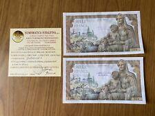 LOTTO 2 BANCONOTE CONSECUTIVE BANCA DI FRANCIA 1000 FRANCHI 5 11 1942 SPL+