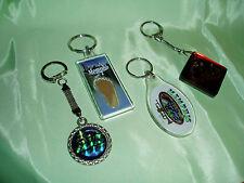 Vintage ELVIS PRESLEY Lot of 4 Key RIngs, Metal, Lucite, Foot Sand