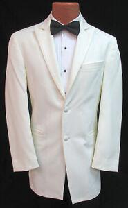 Men's Chaps Ivory Tuxedo Jacket Off-White Formal Dinner Wedding Groom Mason 38L