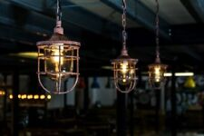 More details for cage light industrial style ceiling lights steel hanging lights