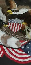 WOW! Antique Framed Feather Art AMERICAN BALD EAGLE & USA FLAG Patriotic OOAK