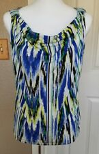Ellen Tracy Med Cowl Neck Sleeveless Blouse Cheerful pretty Colors Flattering