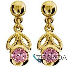 4mm Pink Round Simulated Diamond 9ct Solid Yellow Gold Drop Earrings