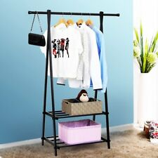 Clothes Garment Rack with 2-Tier Storage Shelves for Bedroom Entryway Metal US