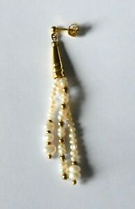 Ohrstecker, Biwa - Perlen, Silber vergoldet