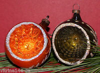 2 REFLEX EINSTICH KUGELN Gold Grün hauchdünn Weihnachtsschmuck Baumbehang CBS
