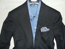 POLO RALPH LAUREN Navy Blue Striped Men's Two Button Wool Suit-42R 35Wx29