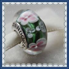 Pandora Murano Glass Charms green flowers Bead stamped Silver s925 Ale New,