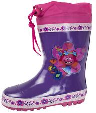 Trolls Tie Top Wellies Girls Poppy Fleece Lined Wellington Snow Rain Boots Size