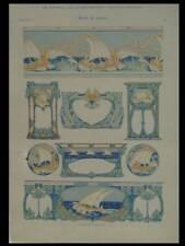 MOTIFS DE MARINE, ART NOUVEAU -1900- LITHOGRAPHIE DOREE