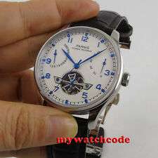 43mm PARNIS white dial deployment clasp power reserve date automatic mens watch