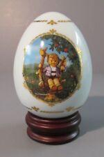 "1993 Danbury Mint Hummel ""Apple Tree Boy"" Porcelain Egg on Wood Base"