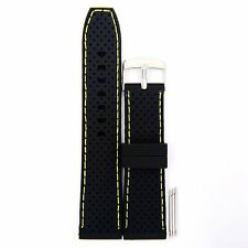 22mm Wide Black Silicon Rubber Yellow Line Waterproof Watch Bands,Diving Strap