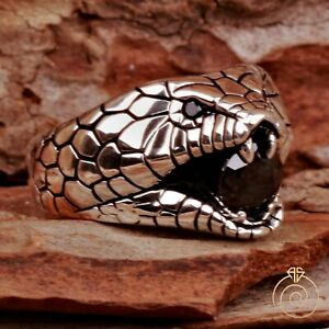 Silver Snake Ring Viper Sign Boho Fancy Statement Serpent Animal Jewelry For Him