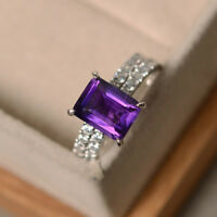 14K White Gold 3.10 Ct Natural Diamond Emerald Real Amethyst Ring Set Size N M O