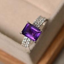 14K White Gold 3.10 Ct Natural Diamond Emerald Real Amethyst Ring Set Size N M O