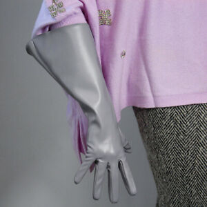 TECH LONG GLOVES Unisex Black Faux Leather 38cm Wide Balloon Puff Sleeves Large